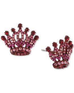 Pink-tone Pavé Crown Stud Earrings