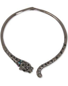 Hematite-tone Black & Gray Pavé Jaguar Hinged Collar Necklace