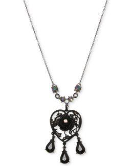 Hematite-tone Filigree Heart Flower & Jet Stone Pendant Necklace