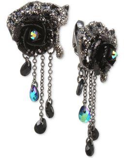 Hematite-tone Black & Gray Pavé Flower & Jaguar Clip-on Drop Earrings