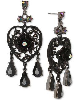 Hematite-tone Black Stone & Flower Filigree Heart Chandelier Earrings