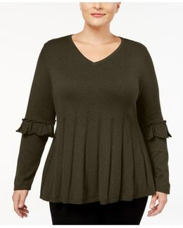 Plus Size Ruffled-sleeve Pleated Sweater