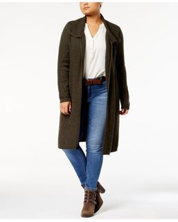 Plus Size Cable-knit Open-front Duster Cardigan