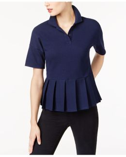 Cotton Pleated Polo Top