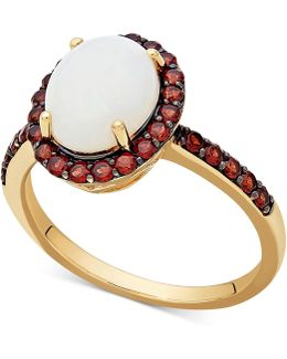 Opal (1-1/2 Ct. T.w.) & Rhodalite Garnet (5/8 Ct. T.w.) Ring In 14k Gold