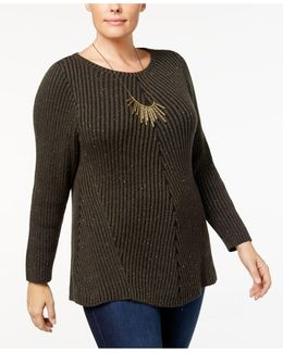 Directional Ribbed-knit Sweater