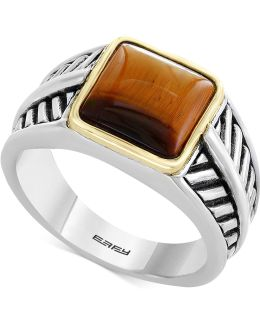 Men's Tiger's Eye Ring In Sterling Silver