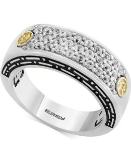 Men's White Sapphire Cluster Ring (1 Ct. T.w.) In Sterling Silver & 18k Gold
