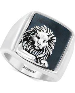 Men's Hematite (19 X 15-1/2mm) Lion Ring In Sterling Silver