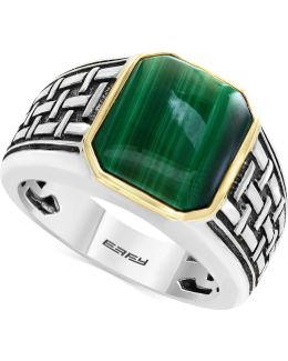 Men's Malachite (13 X 11mm) Ring In Sterling Silver And 14k Gold