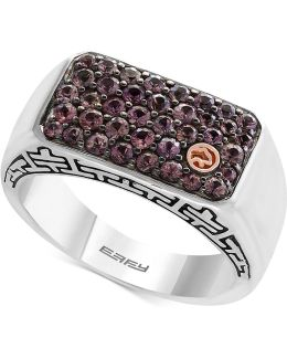 Men's Brown Sapphire Cluster Ring (1-1/3 Ct. T.w.) In Sterling Silver And 18k Gold