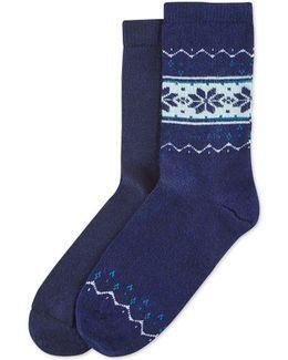 Women's 2-pk. Fair Isle Block Boot Socks