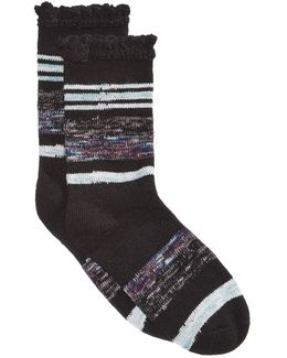 Women's Lace-trim Spacedyed Boot Socks