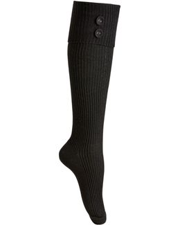 Women's Button Ribbed Knee-high Socks