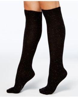 Women's Cuffed Waffle-knit Tweed Knee-high Socks