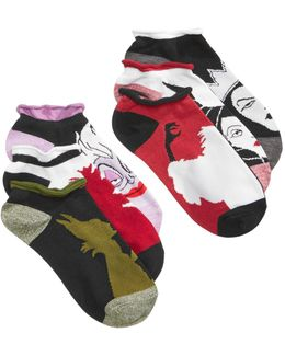 Women's 6-pk. Assorted Villains No-show Socks