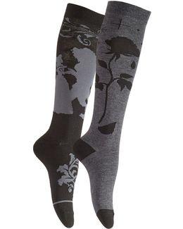 Women's 2-pk. Beauty And The Beast Knee-high Socks