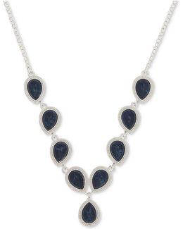 Silver-tone Blue Stone Lariat Necklace