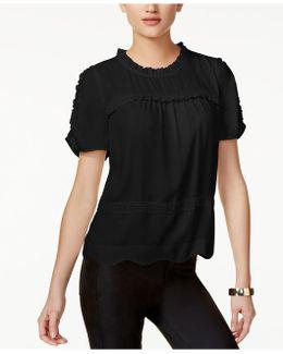 Ruffled Lace-trim Blouse