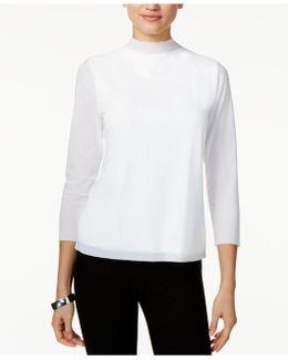 Mock-neck 3/4-sleeve Top