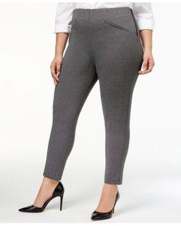 Plus Size Herringbone-weave Skinny Pants