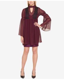 Lace-trim Bell-sleeve Chiffon Dress