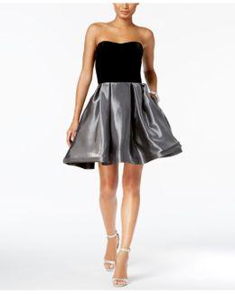 Strapless Velvet-bodice Fit & Flare Dress