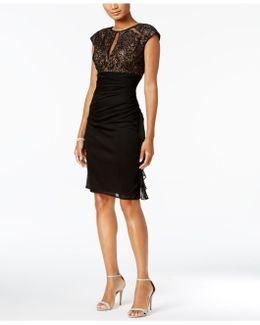 Ruched Lace Sheath Dress
