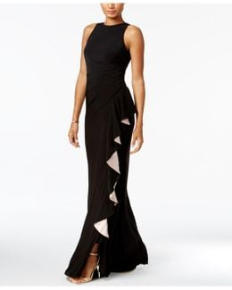 Contrast-ruffle Gown