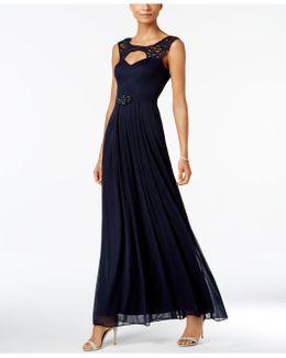 Illusion-trim Cutout Gown