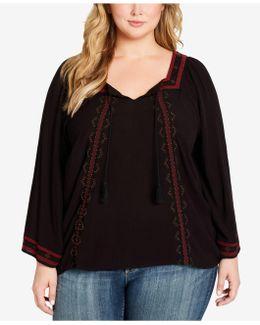 Plus Size Rogan Embellished Peasant Top