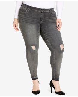 Plus Size Kiss Me Ripped Skinny Jeans, Grey Wash