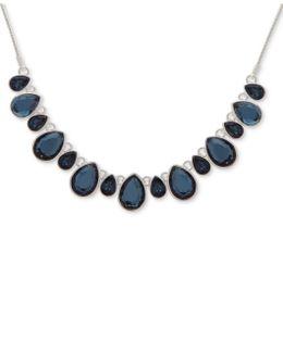 Silver-tone Blue Stone Collar Necklace