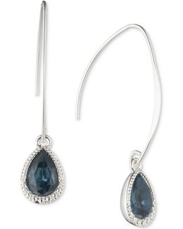 Silver-tone Stone And Pavé Threader Earrings