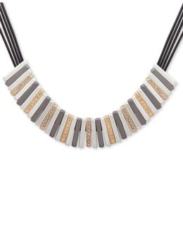 Tri-tone Leather Statement Necklace