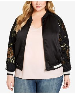 Plus Size Tabby Embroidered Bomber Jacket