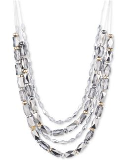 Tri-tone Beaded Multi-layer Statement Necklace