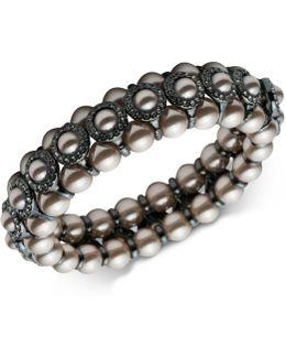 Hematite-tone Imitation Pearl & Pavé Bangle Bracelet