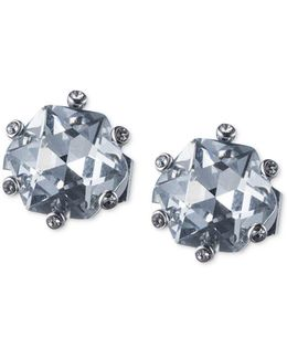 Silver-tone Large Crystal Clip-on Stud Earrings
