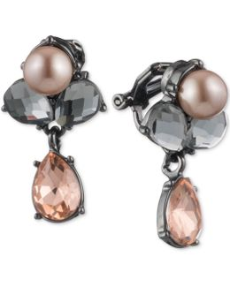 Hematite-tone Colored Crystal & Pink Imitation Pearl Drop Earrings