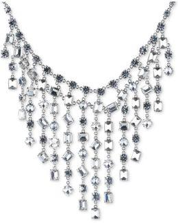 Silver-tone Bezel-set Crystal Statement Necklace