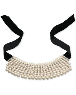 Silver-tone Multi-row Imitation Pearl Choker Necklace