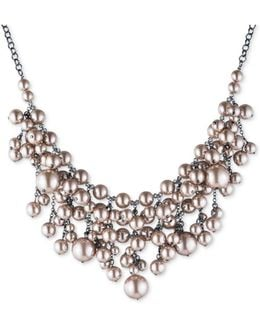 Hematite-tone Imitation Pearl Statement Necklace