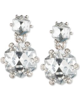 Silver-tone Double Crystal Drop Earrings