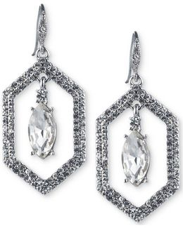 Silver-tone Crystal Openwork Drop Earrings