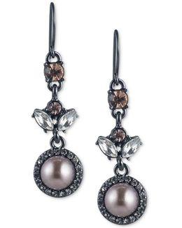 Hematite-tone Crystal & Gray Imitation Pearl Drop Earrings