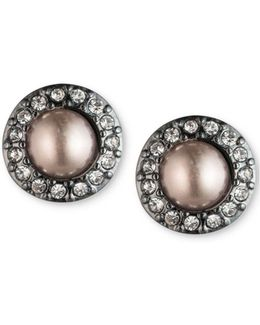 Hematite-tone Pavé & Gray Imitation Pearl Stud Earrings