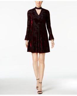 Cutout Burnout Velvet Dress