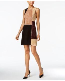 Faux-suede Colorblocked Dress