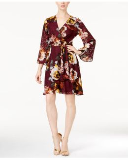 Floral-print Burnout Wrap Dress